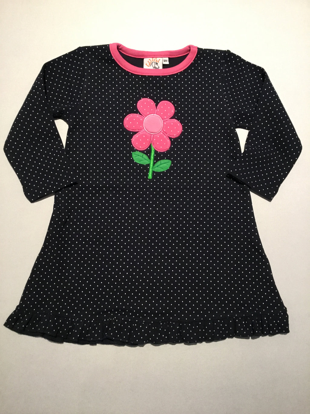 Pink Daisy Navy & White Dotted Ruffle L.S.Dress