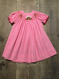 Gingerbread Smocked Pink Check Dress
