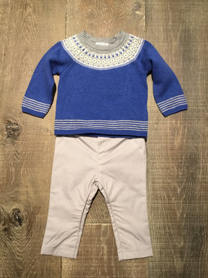 Blue & Grey Sweater & Trouser Set