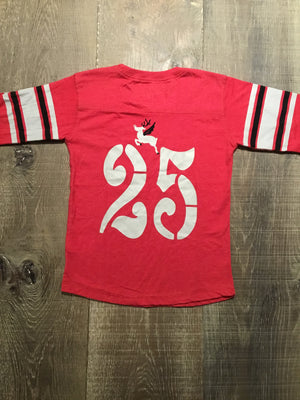 Flying Reindeer on Cherry Red Long Sleeve Shirt