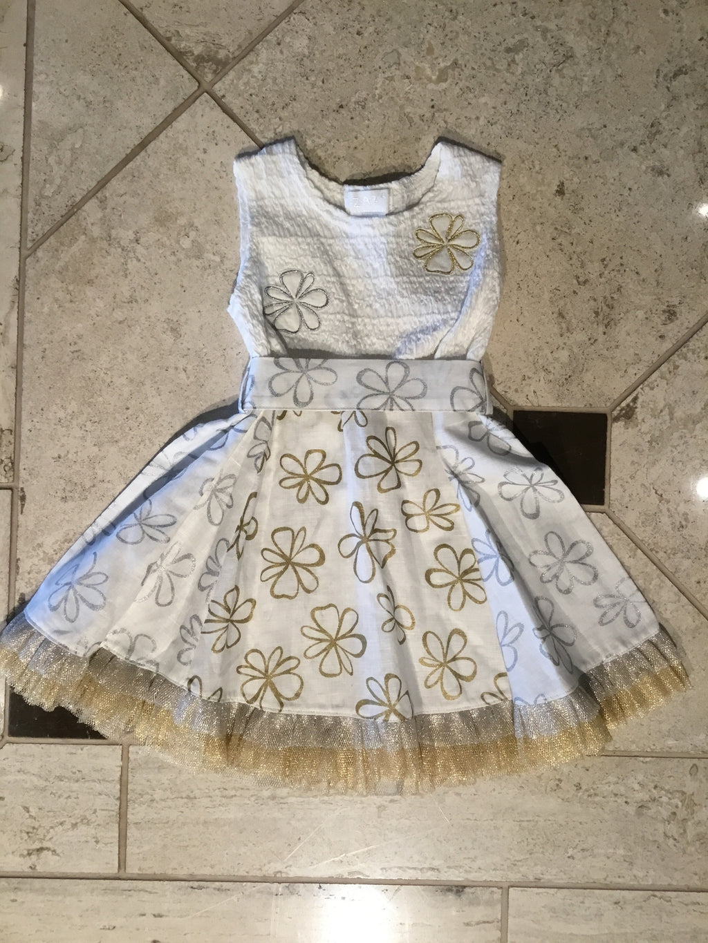Silver & Gold Blossom Sundress on Ivory by ZaZa Couture