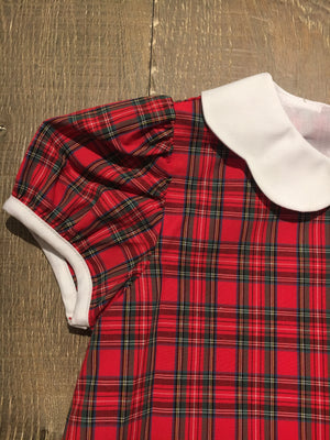 Red Plaid Dress with Scallop Collar