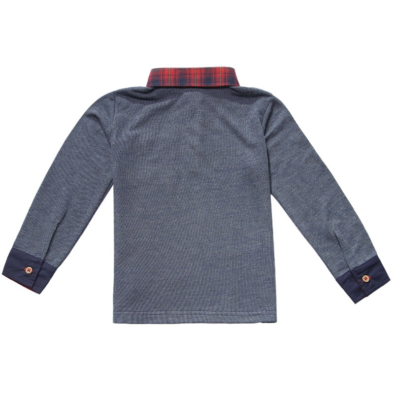 Navy Long Sleeve Polo with Red Plaid Collar