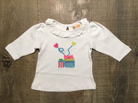 Two Gifts on White Ruffle Long Sleeve Shirt
