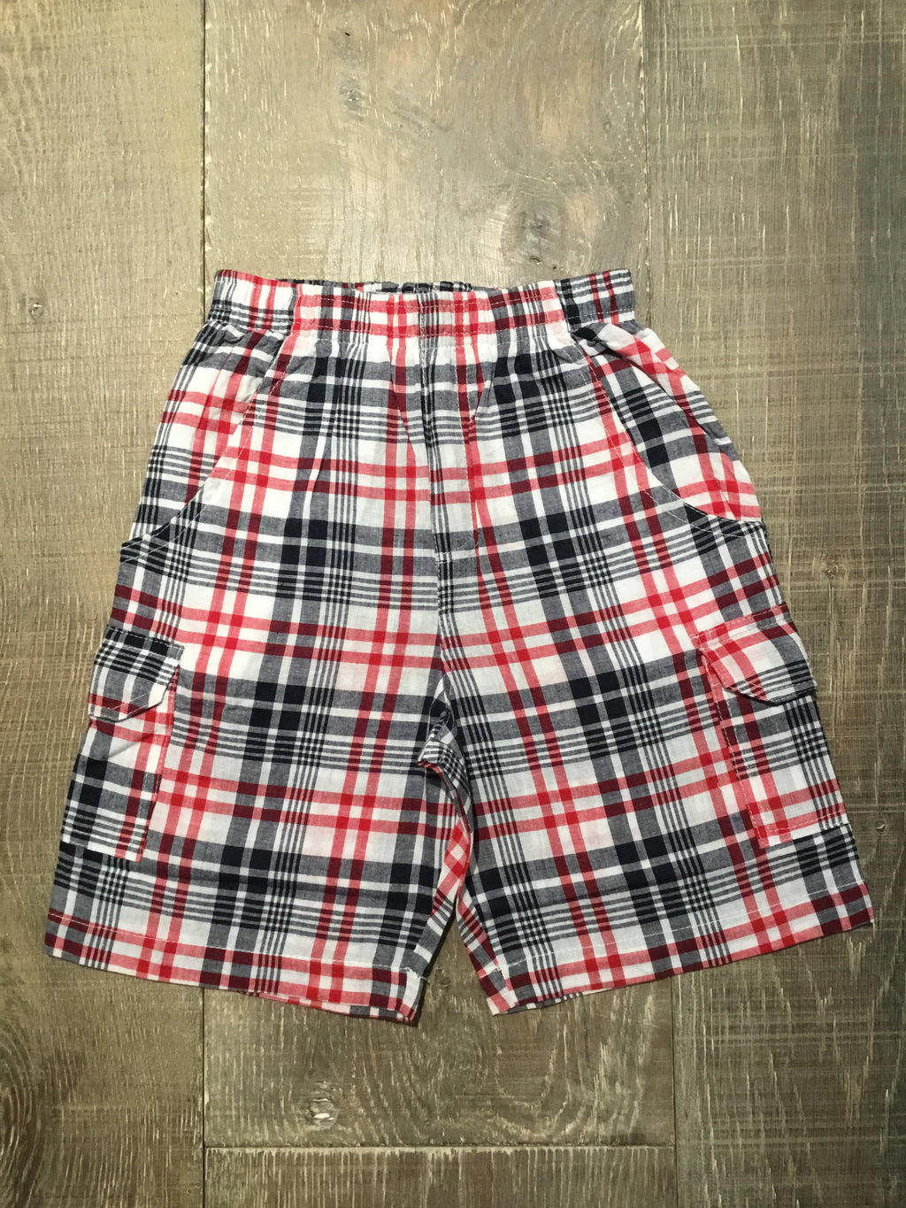 Pull-On Plaid Cargo Pocket Shorts