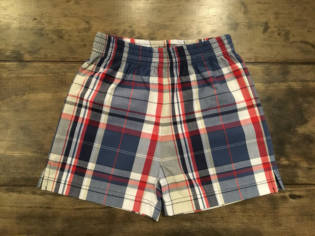 Navy Plaid Shorts by Luigi Kids
