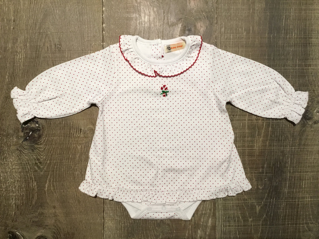 Candy Cane White/Red Dotted Onesie Ruffle Shirt