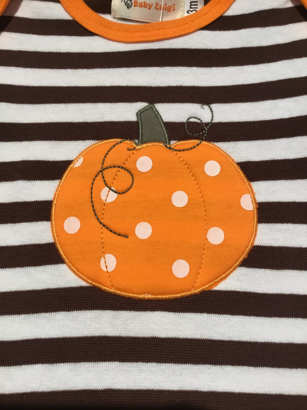 Pumpkin Chocolate/White Stripe L.S. Onesie