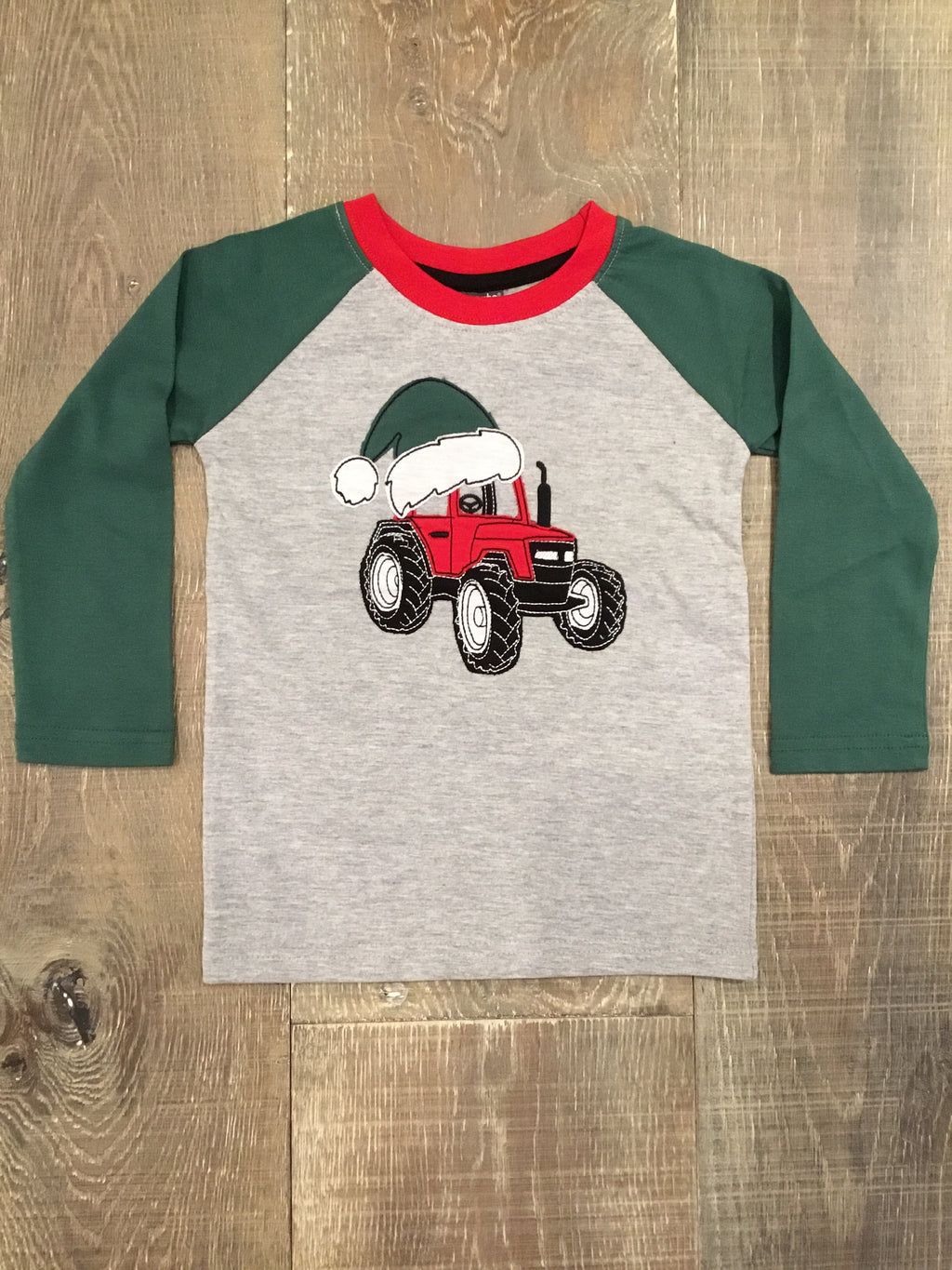 Santa Hat on Tractor Raglan Sleeve Shirt