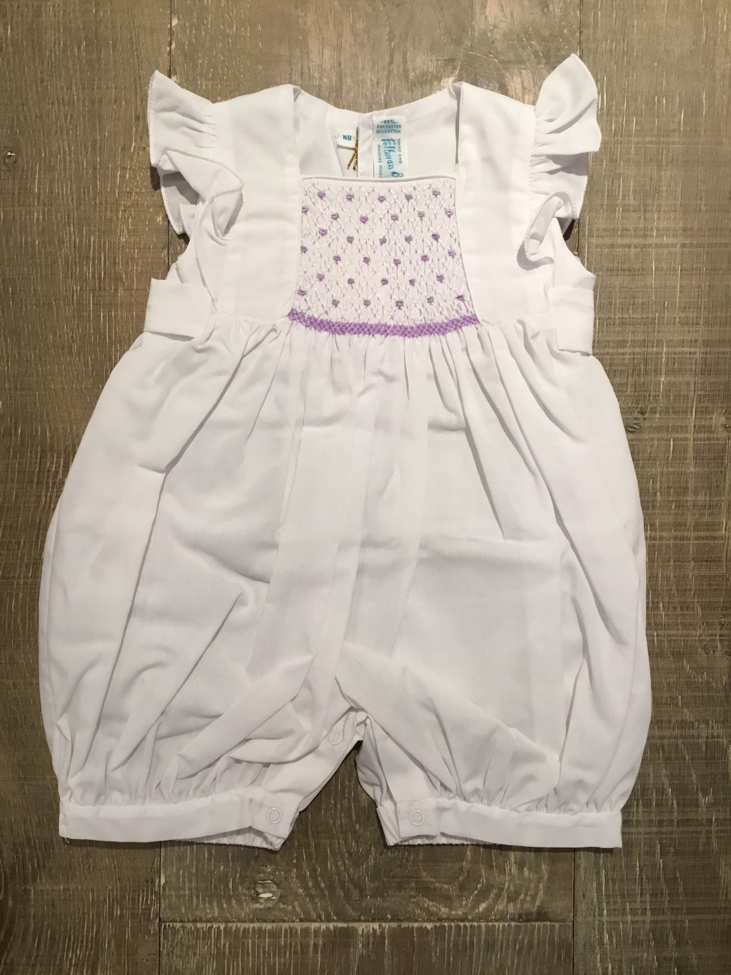 f85a25026aa4 Lavender Smocked Flutter Sleeve Romper – Bright Beginnings Boutique