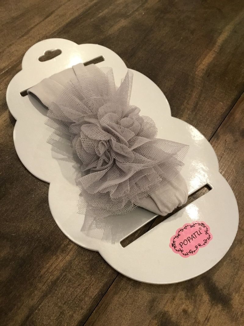 Silver baby headband with tulle & flowers