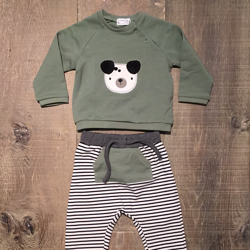 Olive Dog Shirt & Stripe Pants Set