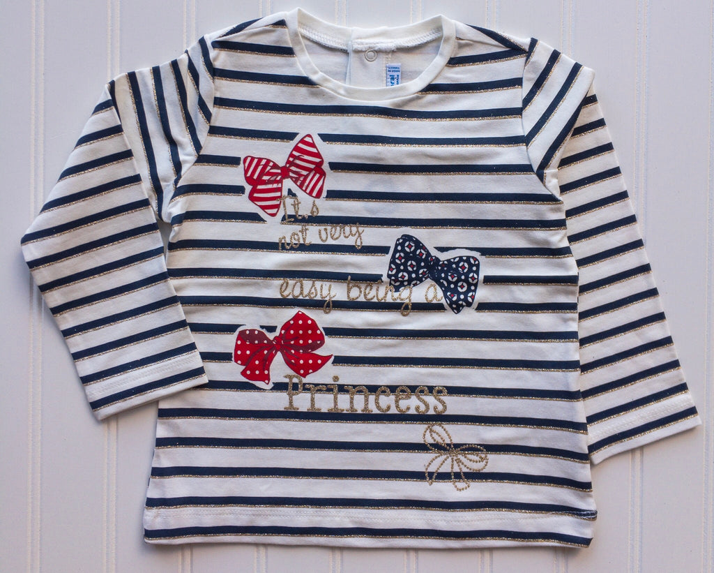 Princess Navy & Gold Striped Long Sleeve Shirt