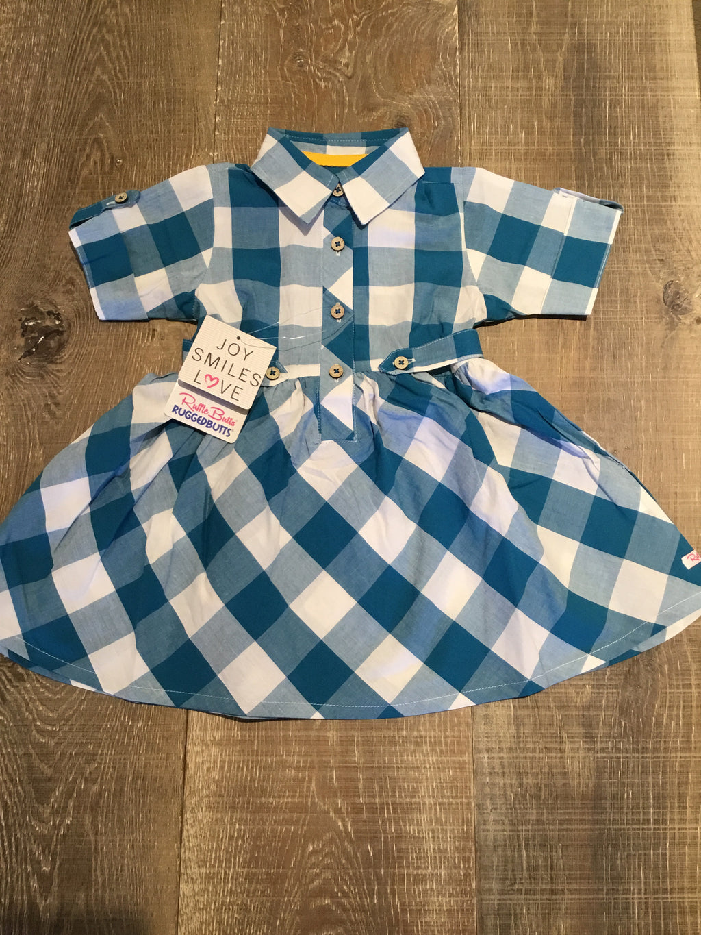 Peacock Blue Plaid Babydoll Dress