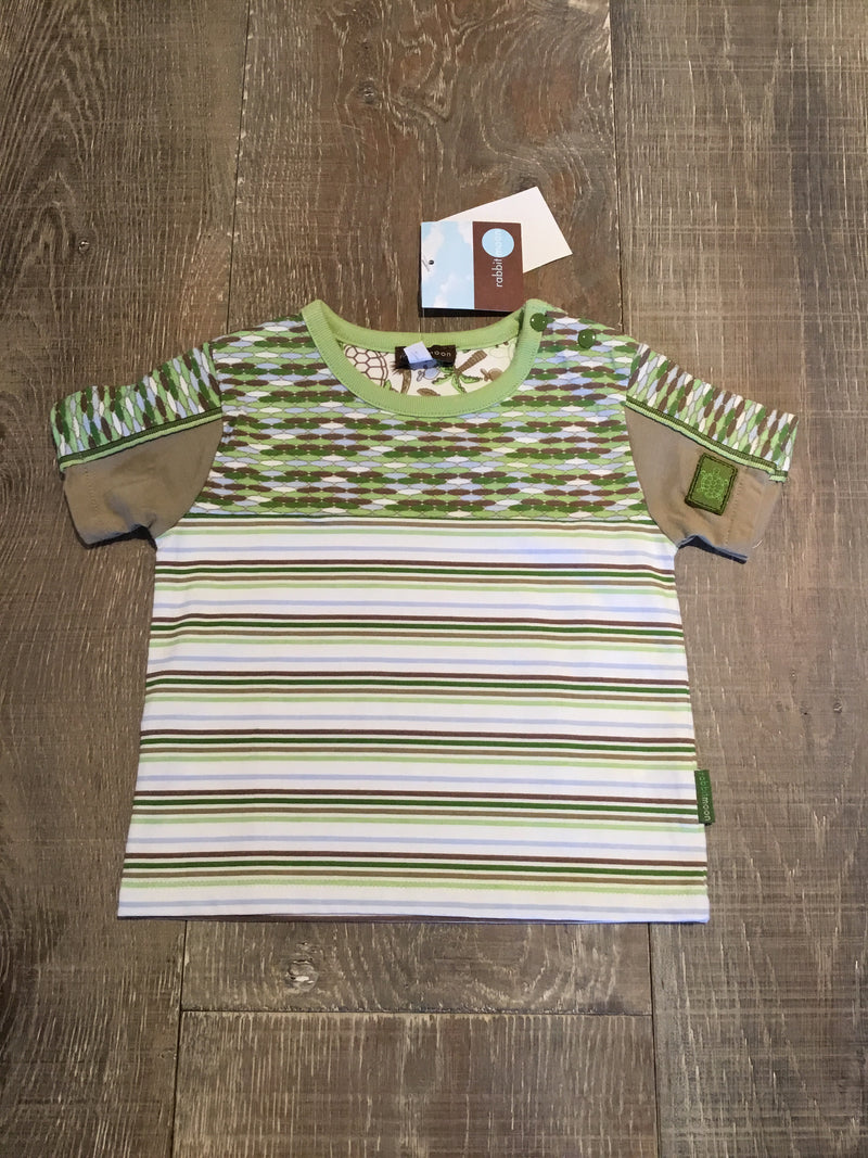 Striped & Pieced Green and Brown T-Shirt