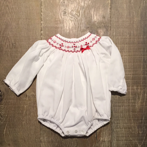 White & Red Smocked Holiday Bubble