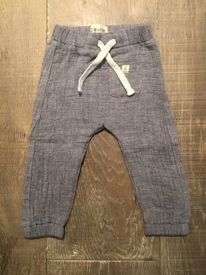 Blue Cotton Tie Cord Pants
