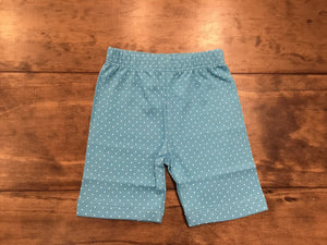 Turquoise & White Dotted Bicycle Shorts by Luigi Kids