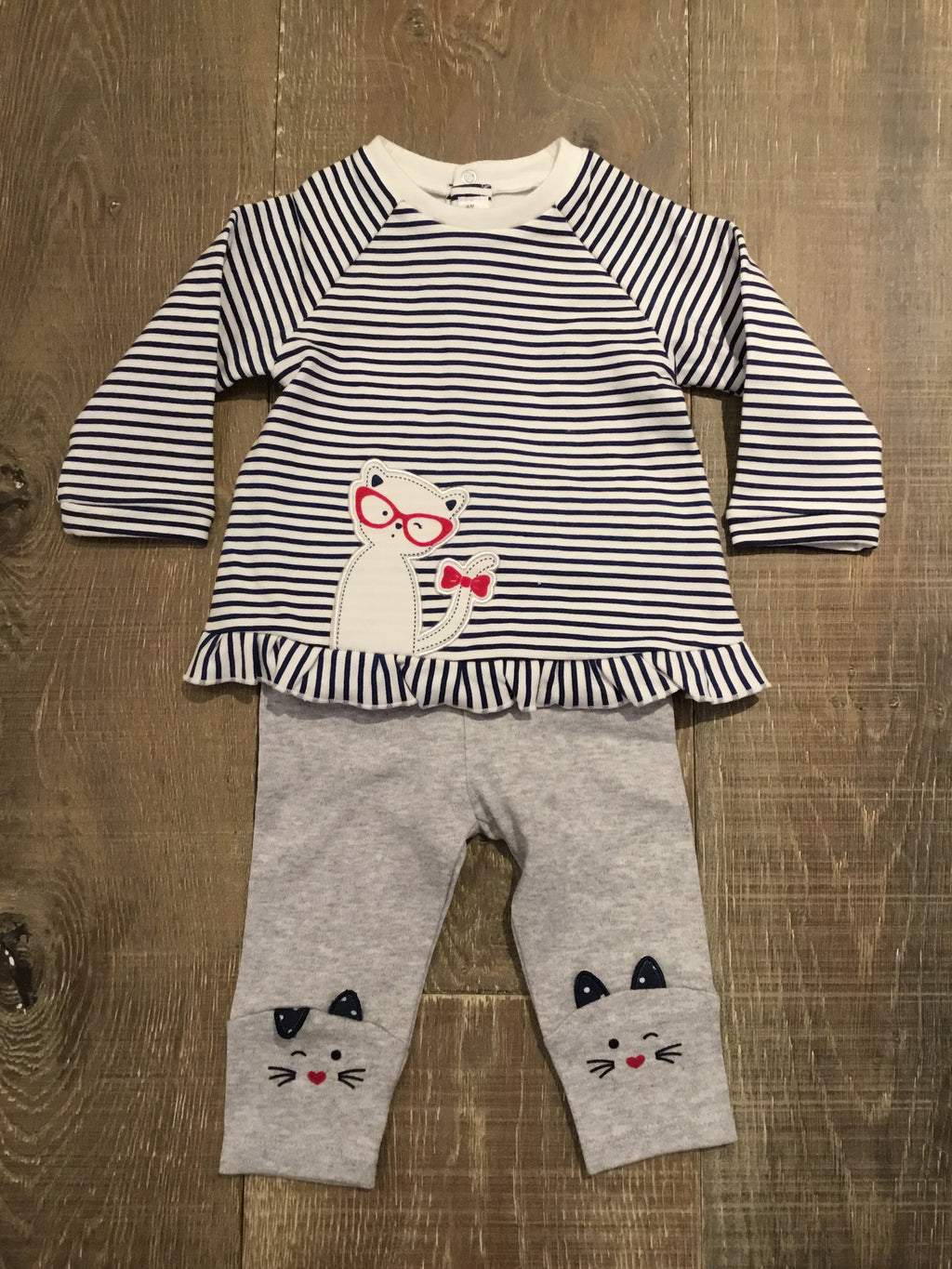 Striped Kitty Wink Top with Grey Kitty Leggings