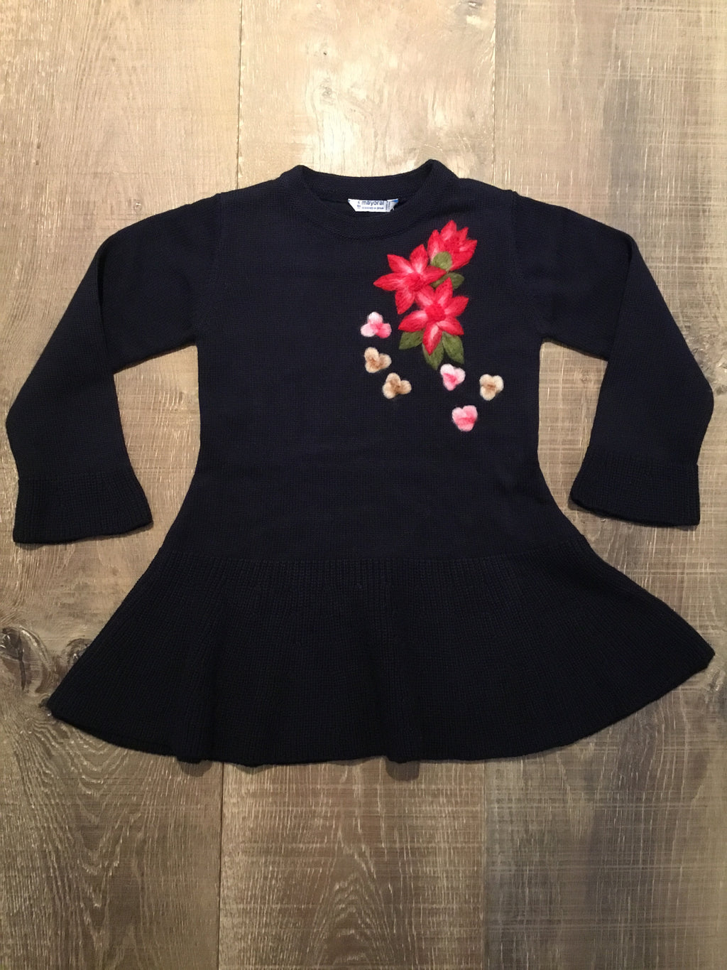 Navy Knit Floral Dress
