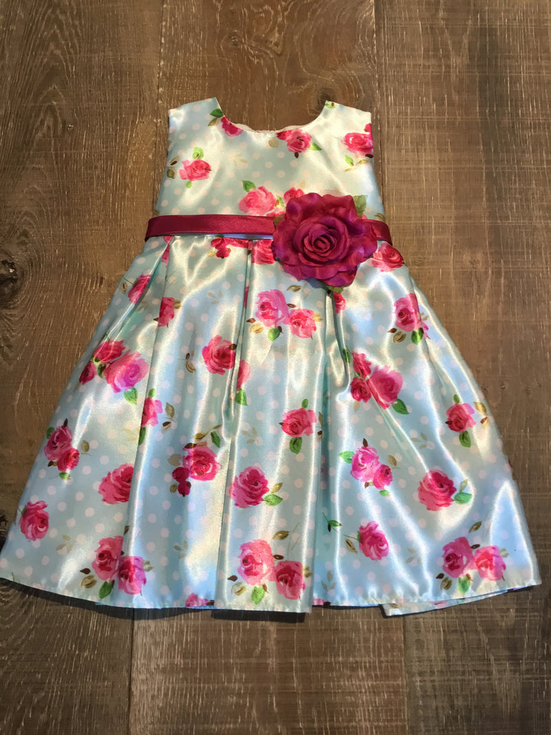 Light Blue and Rose Dotted Dress