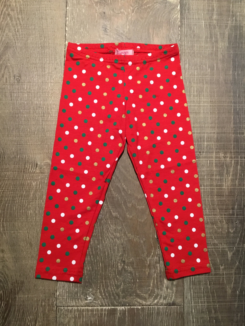 Green/Gold/White Dotted on Red Leggings