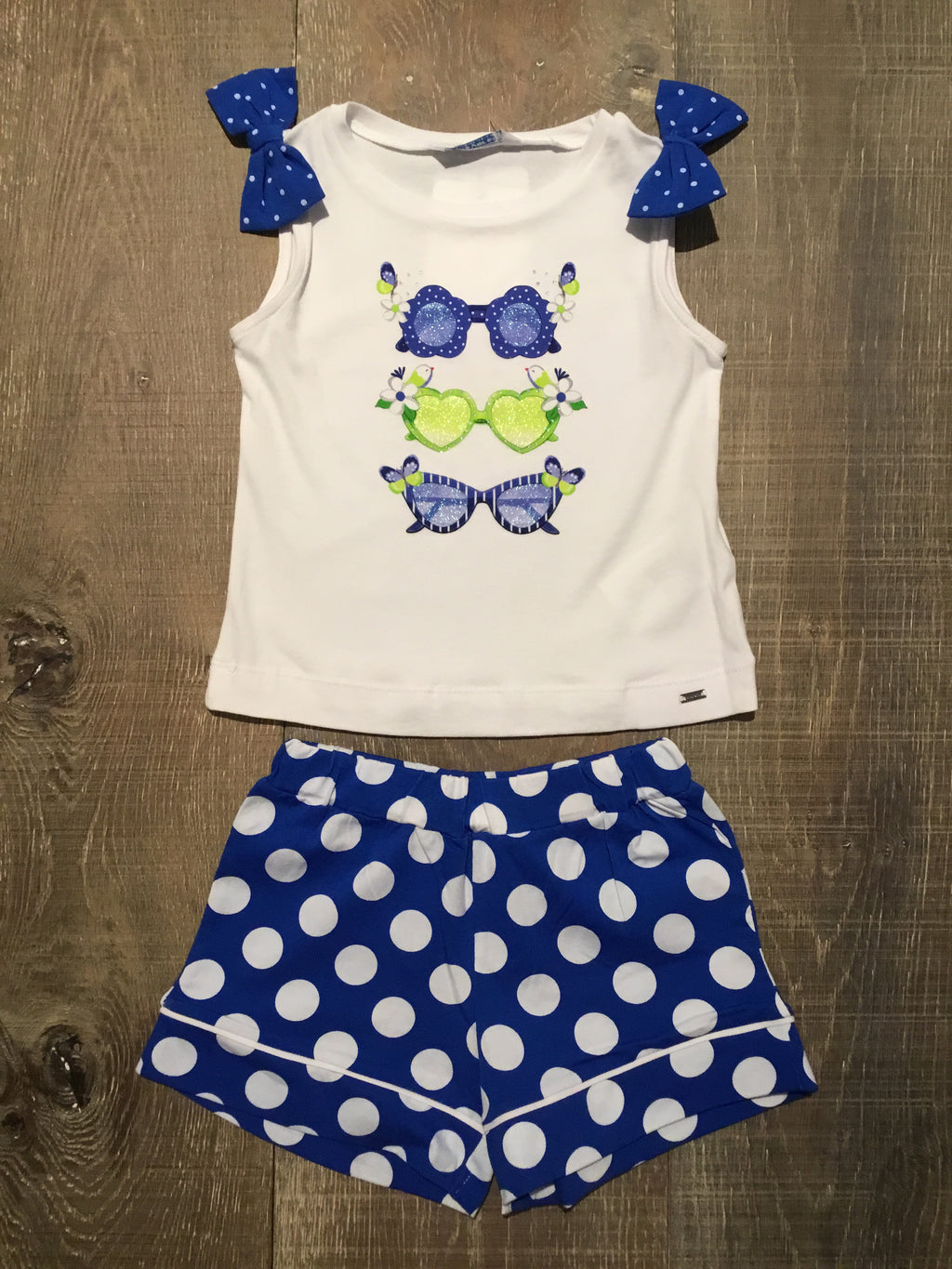 Sunglasses Tank & Polka Dot Shorts Set