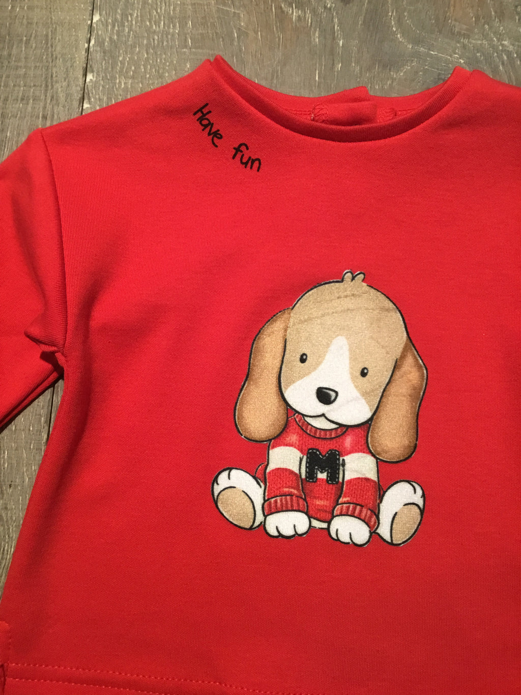 """Have Fun"" Pup - Red LS Tee"