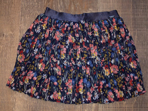 Pleated Floral Skirt on Navy