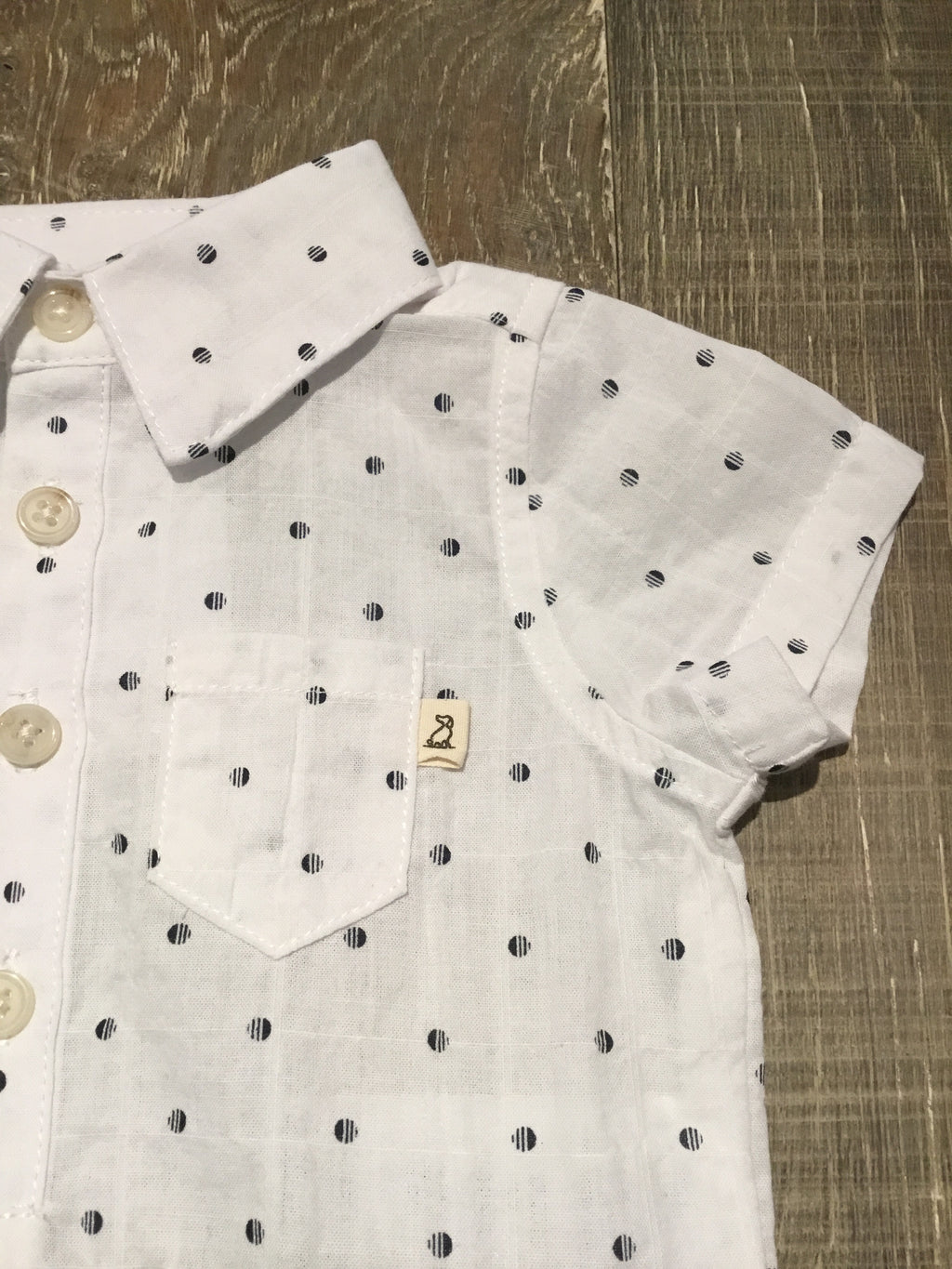 Me & Henry White with Navy Spots Woven Onesie