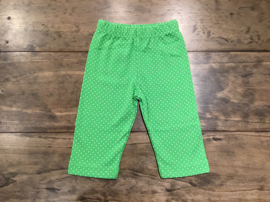 Green & White Dotted Capris by Luigi Kids