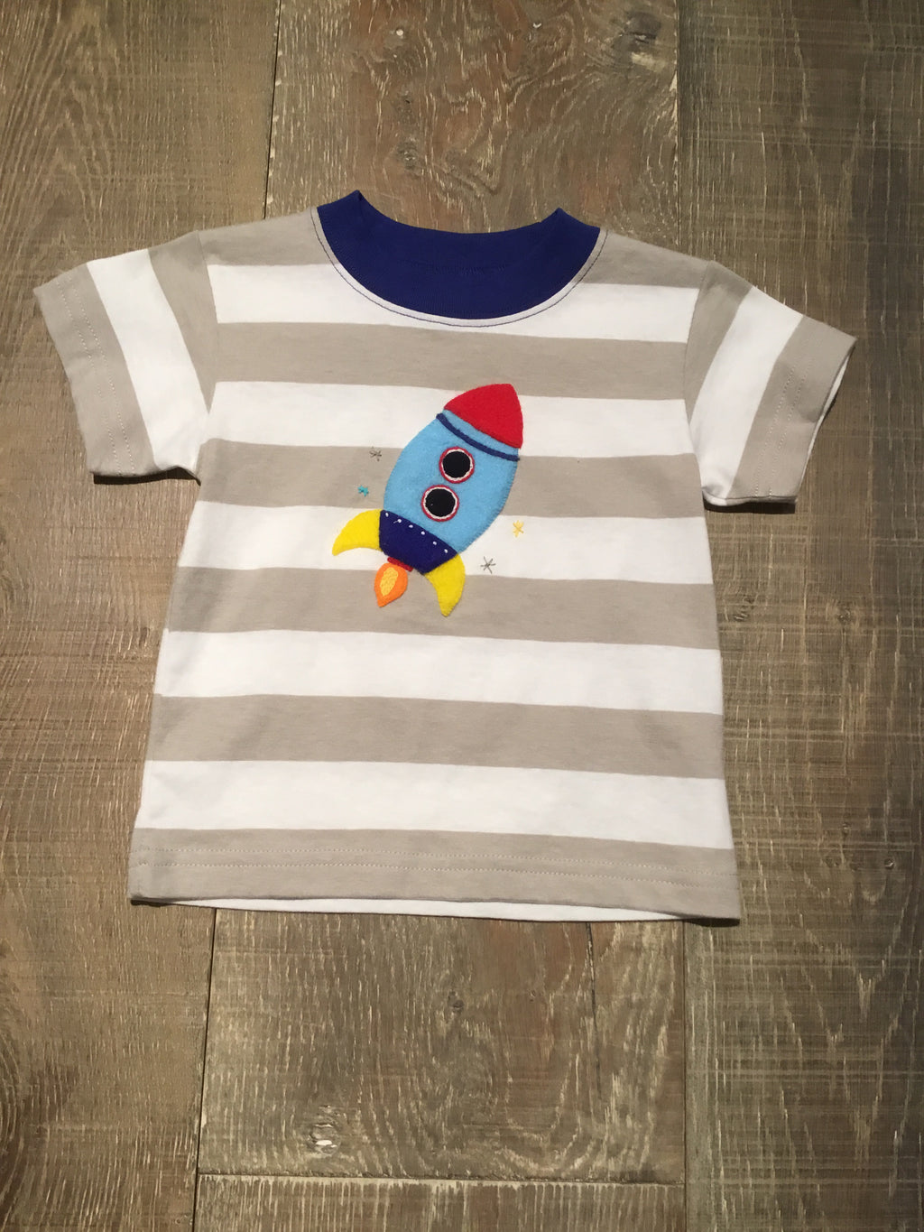 Rocket on Grey Stripe Tee