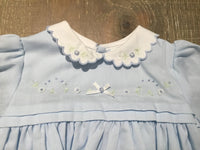 Blue Flower Dress White Scalloped Collar