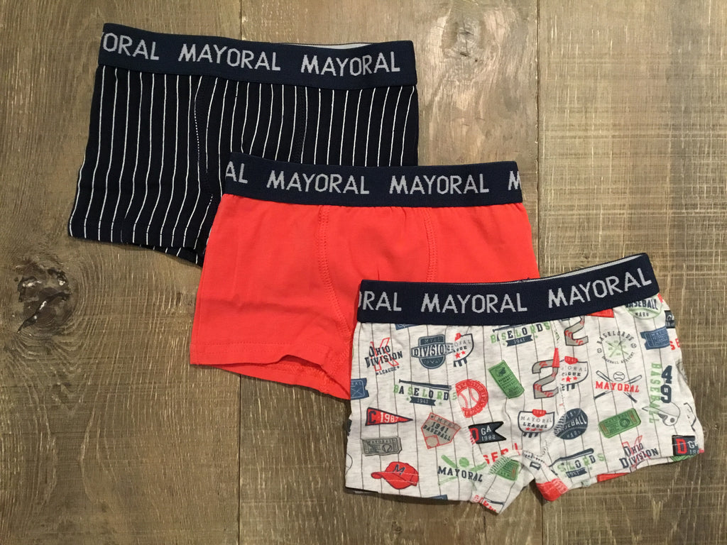 Baseball/Orange/Stripe 3-Pack Boxers
