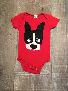 Doggie Applique Red Onesie
