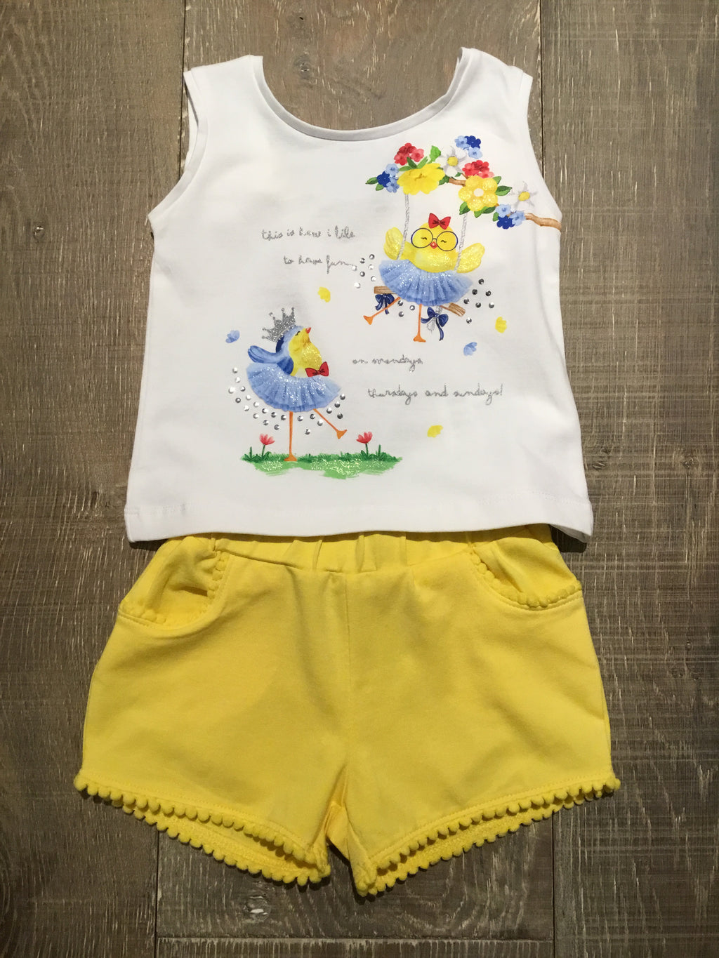 Birdie Tank Top & Yellow Shorts Set