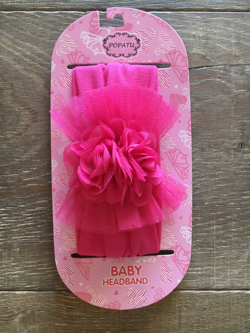 Hot pink baby headband with tulle & flowers