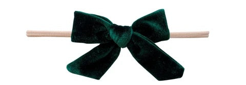 Velvety Bow Skinny Headband-Forest Green