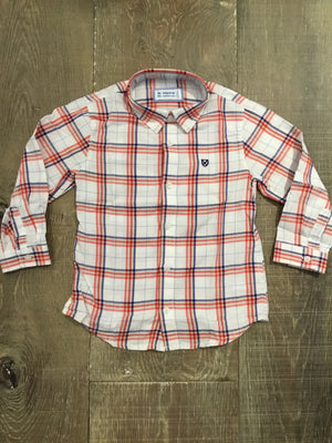 Long Sleeve Red, Blue, White Plaid Button Down Shirt