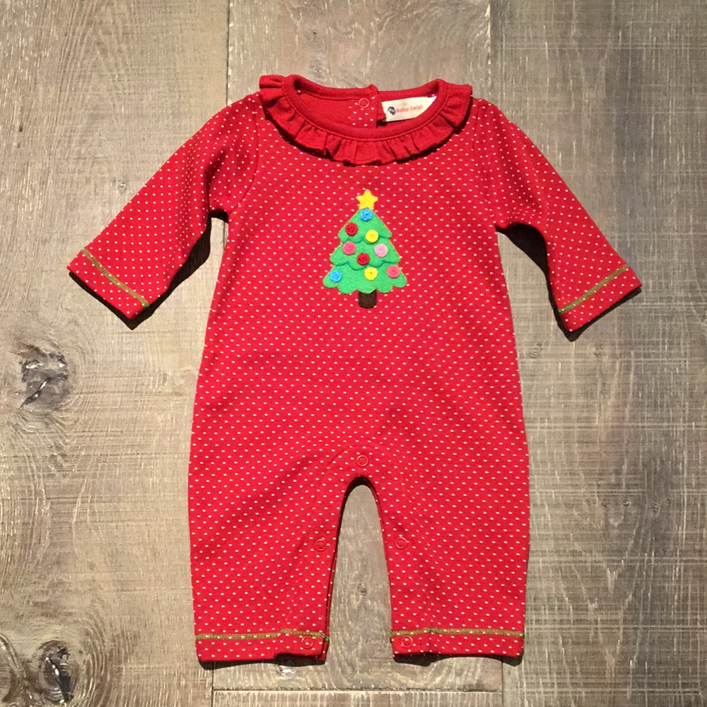 Christmas Tree Red Ruffle Coverall