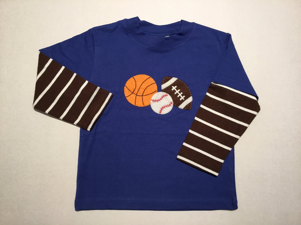 Sports Balls Blue & Chocolate/White Striped L.S. Shirt
