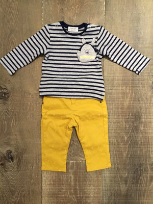 Navy Striped Bear Shirt & Mustard Nautical Pants