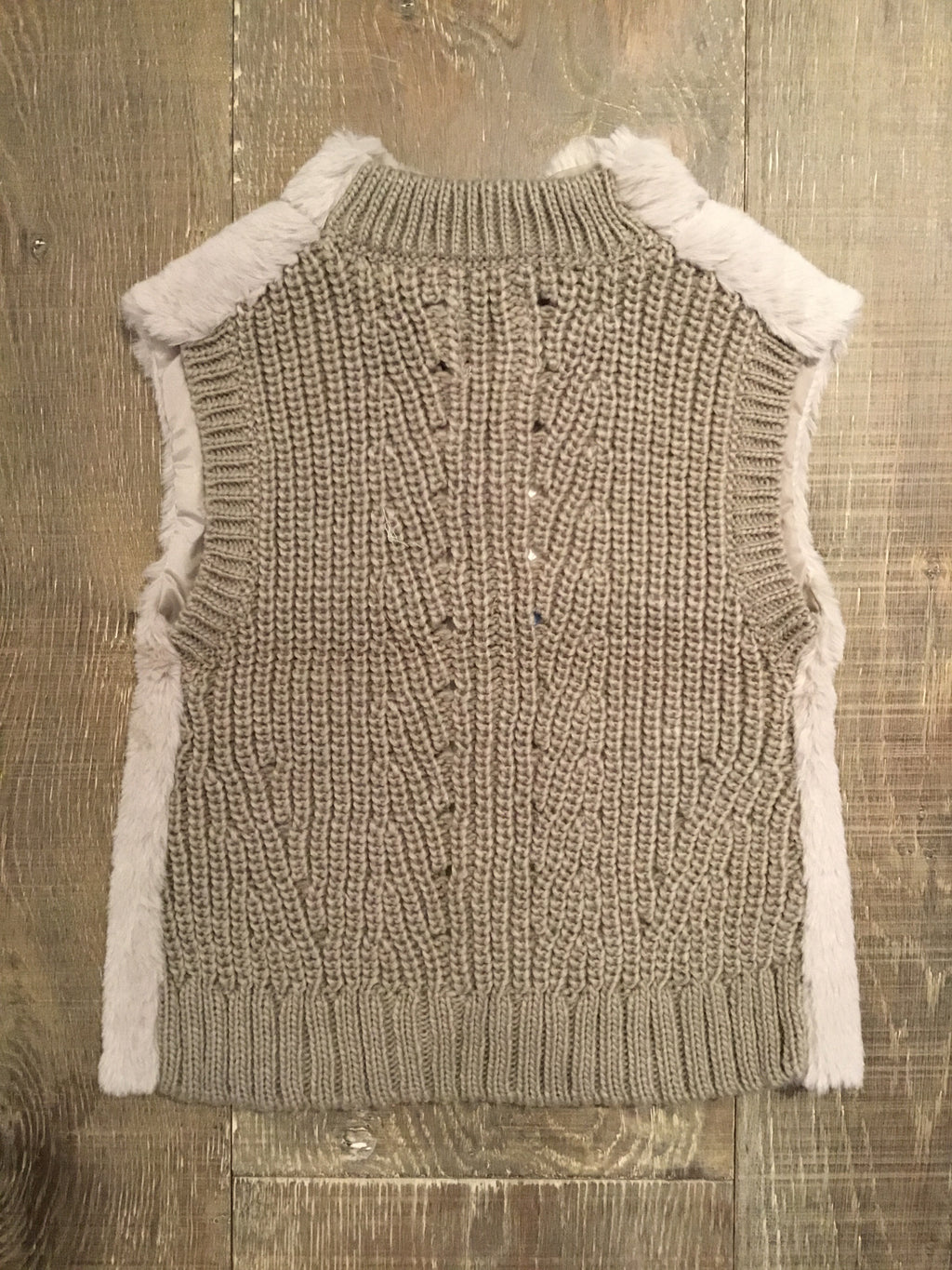 Beige Knit Vest with Fur