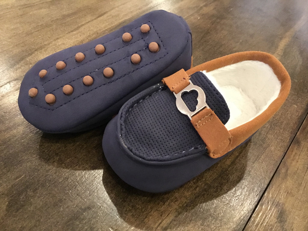 Navy and Brown Infant Moccasin Loafers