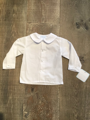 White Shirt Long Sleeve Shirt with White Piping Collar