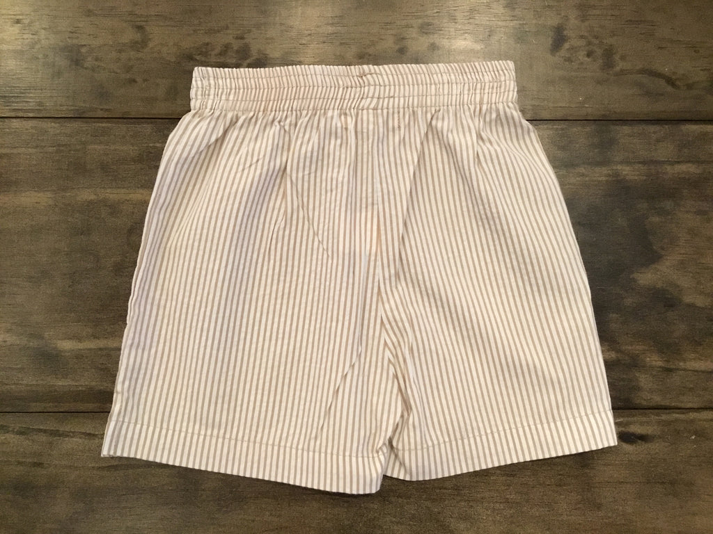 Tan and White Seersucker Shorts by Luigi Kids