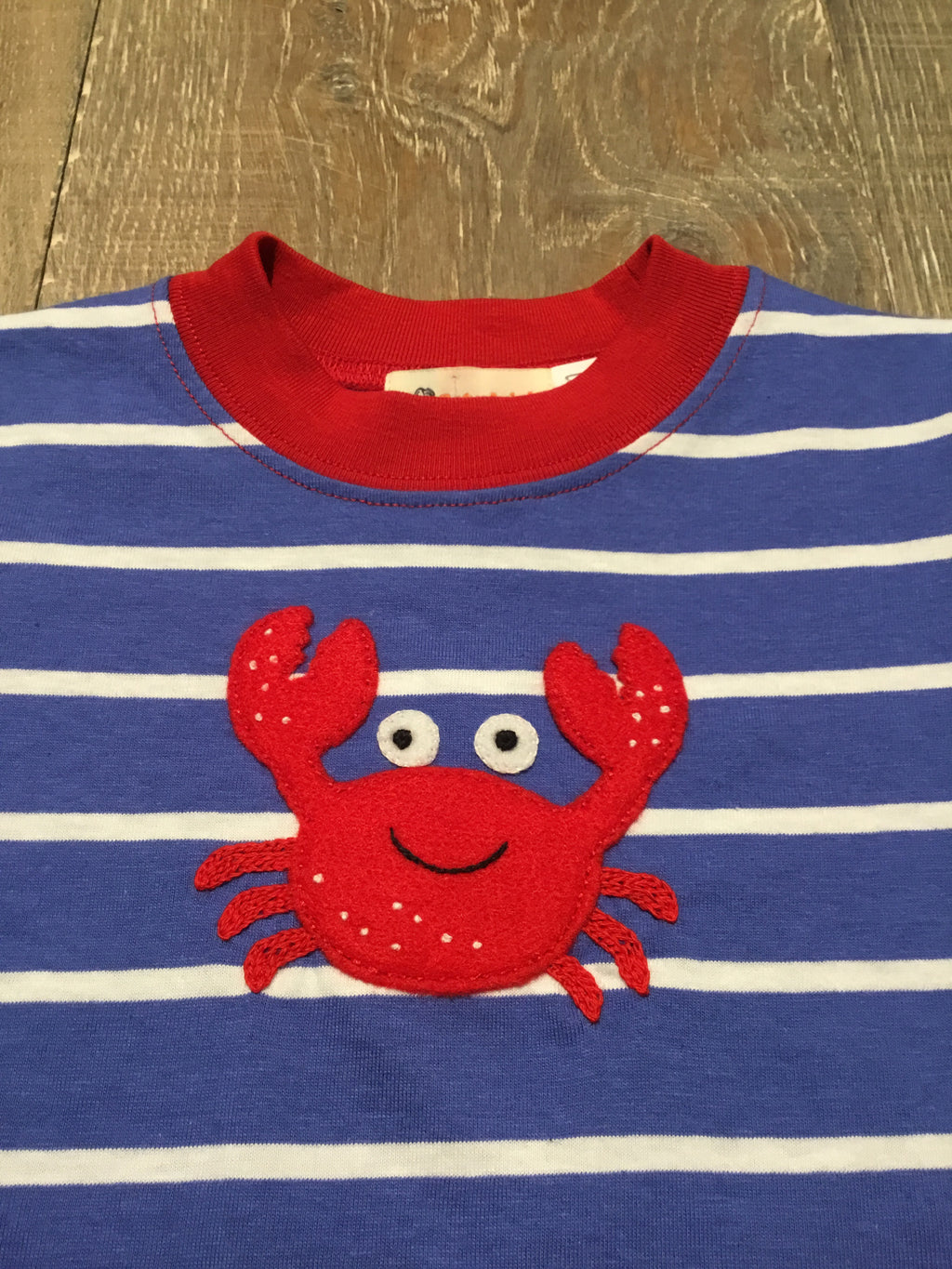 Crab on Striped Dark Chambray Tee