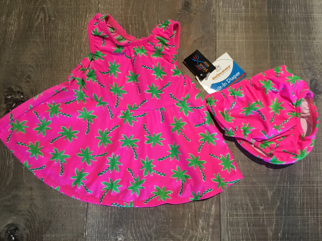 Hot Pink Palm Trees Swimster and Diaper
