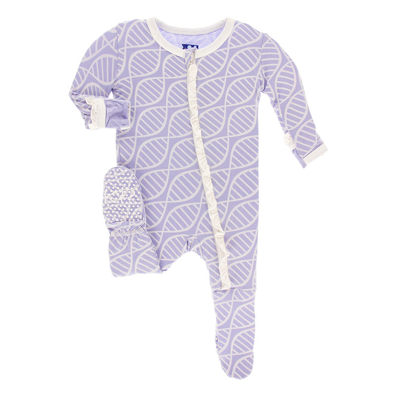 Lilac Double Helix Ruffle Footie