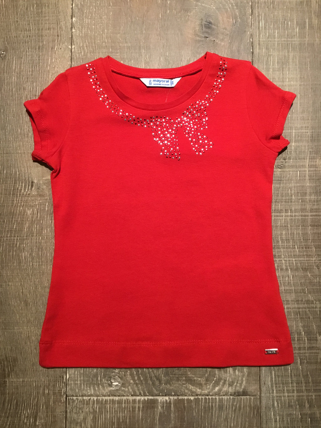 Jeweled Bow Neckline Top